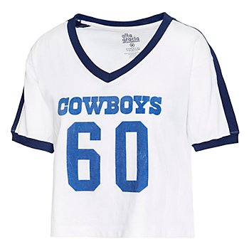 Dallas Cowboys Alta Gracia Womens Cropped V-Neck Short Sleeve Soccer T-Shirt
