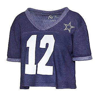 Dallas Cowboys Alta Gracia Womens Cropped V-Neck Short Sleeve Fleece Football T-Shirt