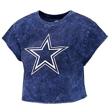 Dallas Cowboys Alta Gracia Womens Cloud Wash Short Sleeve Cropped T-Shirt