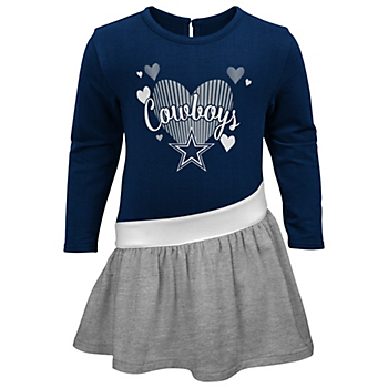 Dallas Cowboys Toddler All Hearts Long Sleeve Dress