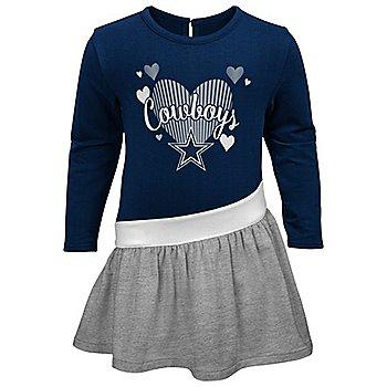 Dallas Cowboys Toddler All Hearts Long Sleeve Dress