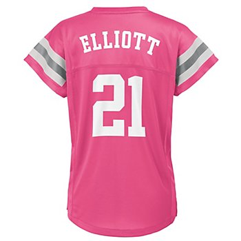 Dallas Cowboys Girls Ezekiel Elliott #21 V-Neck Name & Number T-Shirt