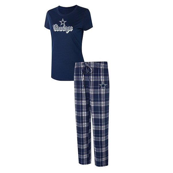 Dallas Cowboys Womens Ethos Flannel Pant and Top Pajama Set