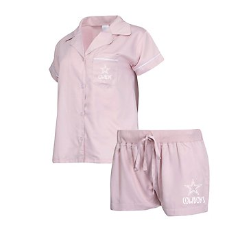 Dallas Cowboys Womens Ivory Shirt and Satin Short Pajama Set