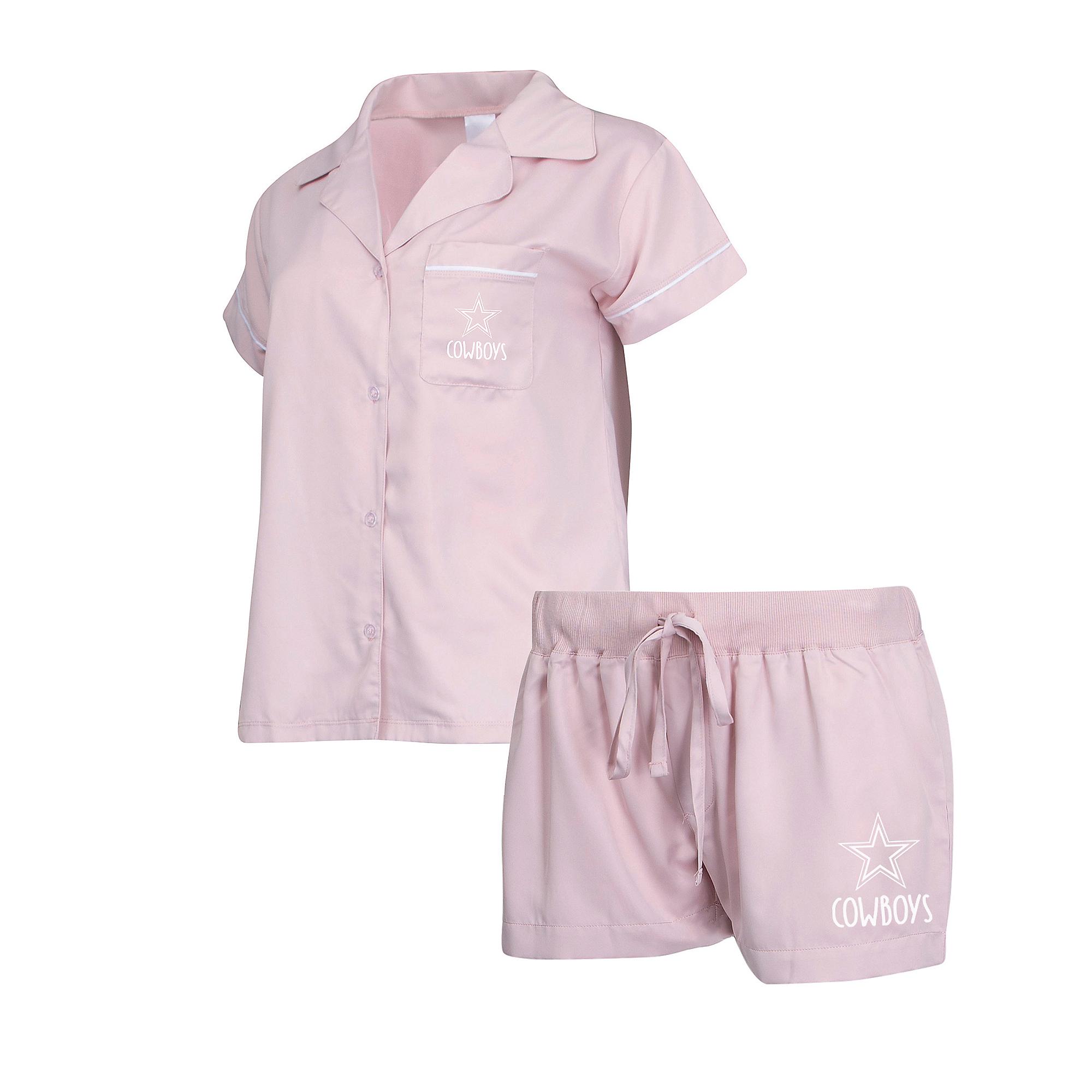 Dallas Cowboys Womens Ivory Shirt and Satin Short Pajama Set
