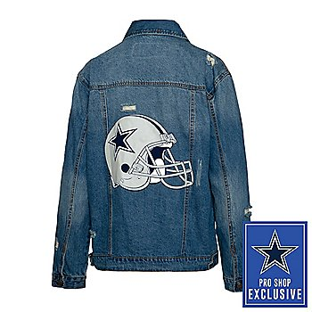 Dallas Cowboys Team LJ Womens Helmet Screen Printed Denim Jacket