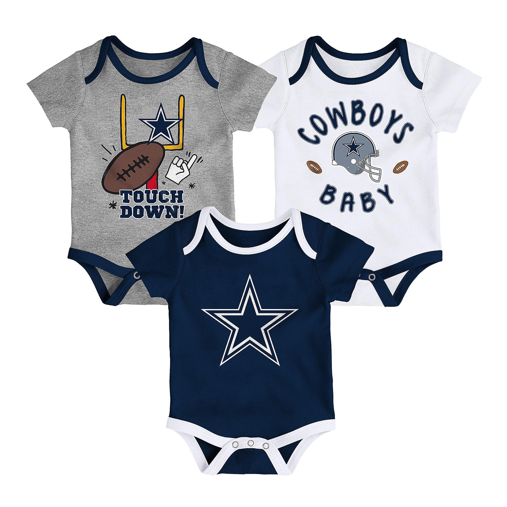Dallas Cowboys Infant Champ 3-Pack Creeper Set