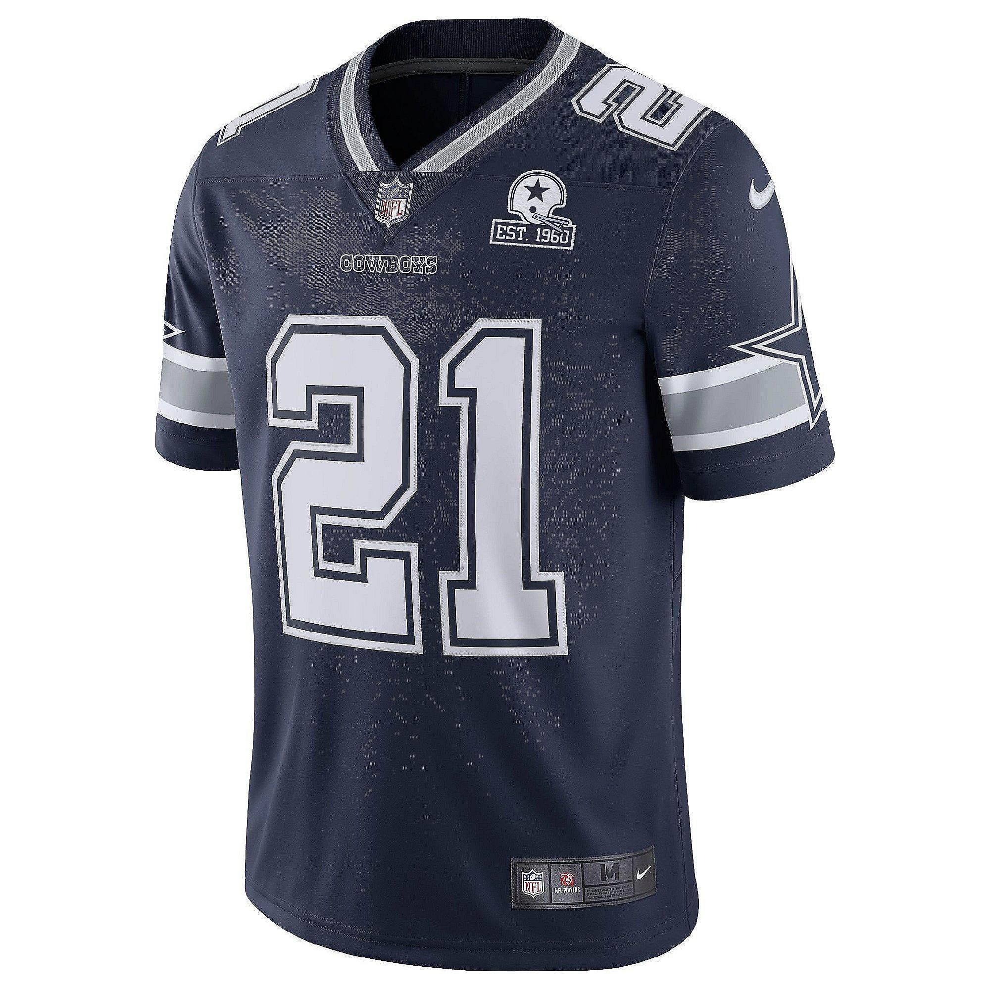 Dallas Cowboys Ezekiel Elliott #21 Nike 1960 Navy Vapor Limited ...