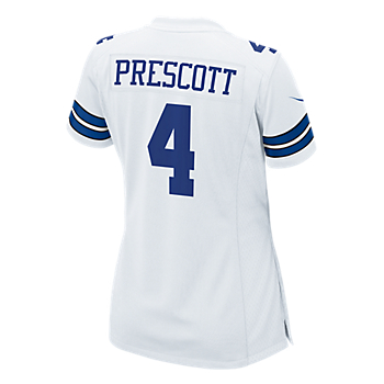 Dallas Cowboys Womens Dak Prescott #4 Nike White Game Replica Jersey