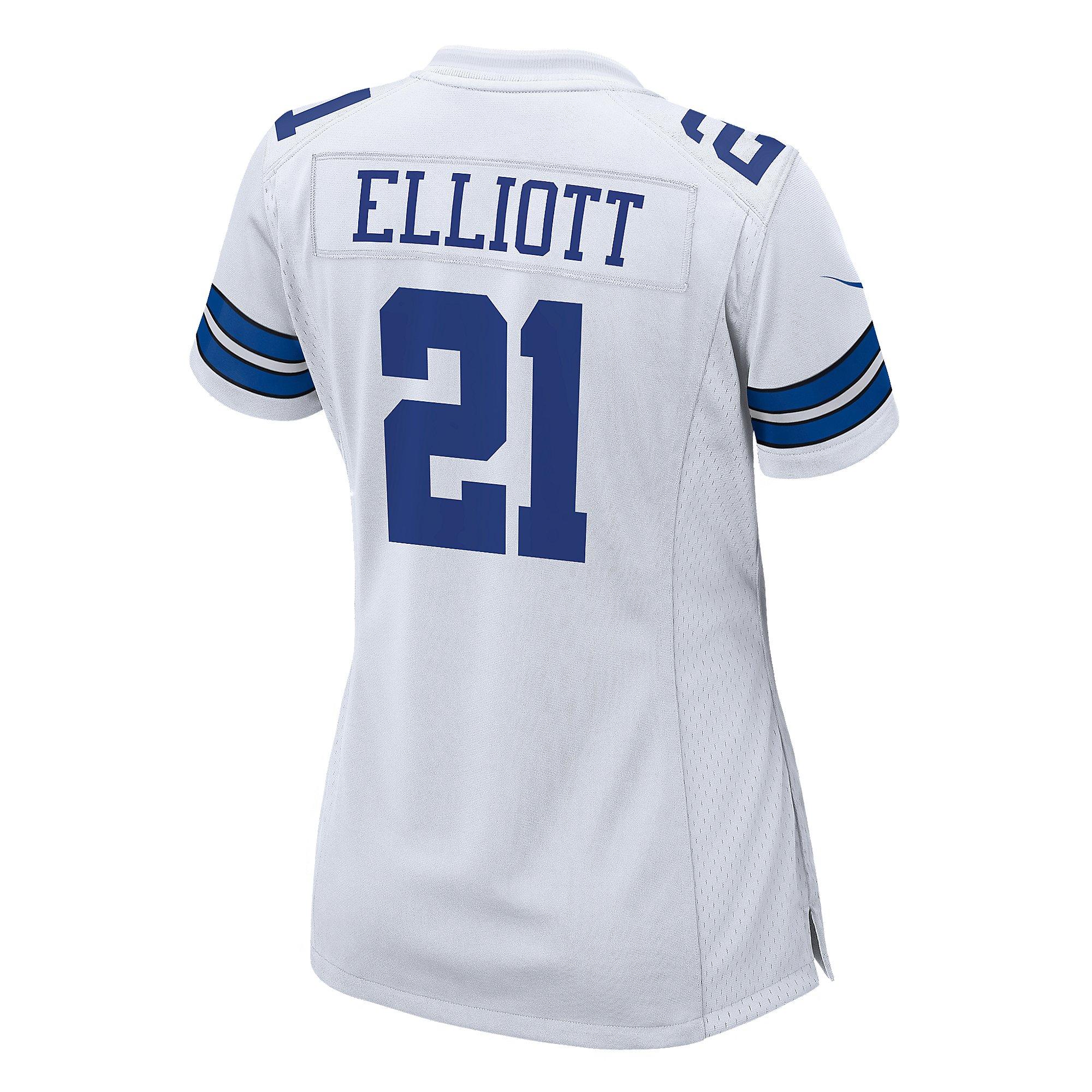 Dallas Cowboys Womens Ezekiel Elliott #21 Nike White Game Replica ...