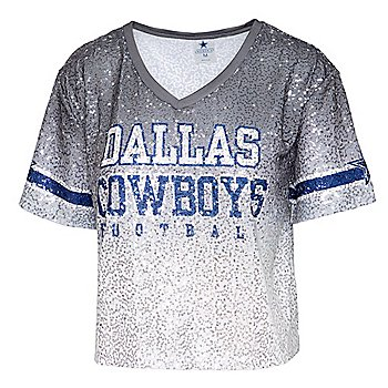 Dallas Cowboys Womens Cadence Sequined Cropped Jersey