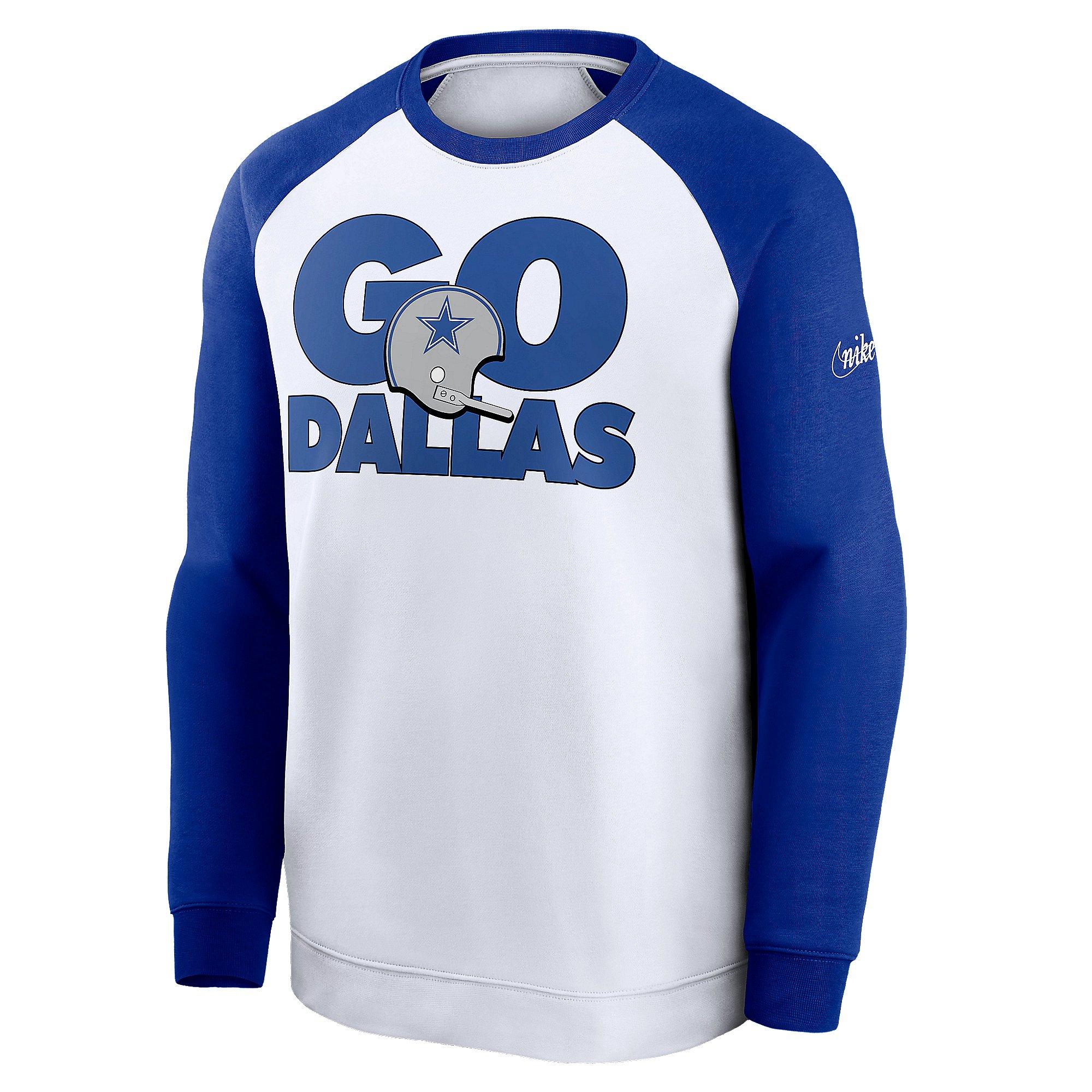 Dallas Cowboys Nike Mens Go Helmet Historic Raglan Sweatshirt