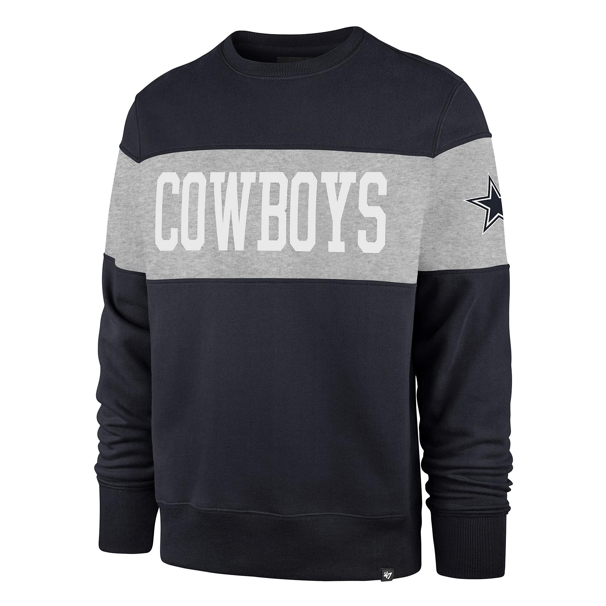 Dallas Cowboys '47 Brand Mens Navy Interstate Crew Sweatshirt