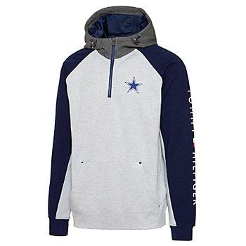 Dallas Cowboys Tommy Hilfiger Mens Color Block Quarter-Zip Pullover Hoodie