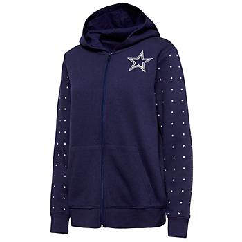 Dallas Cowboys Womens Beauvoir Full Zip Fleece Hoodie