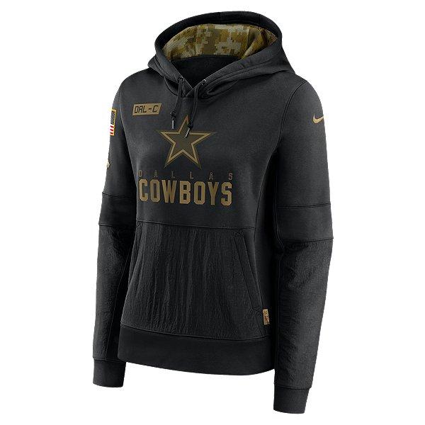 Dallas Cowboys Nike Salute to Service Womens Team Logo Lockup Therma Fleece Hoodie