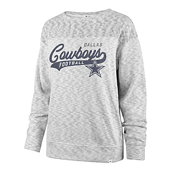 Dallas Cowboys '47 Brand Womens Sport Script White Out Crew Sweatshirt