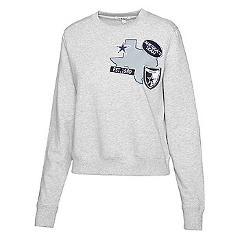Dallas Cowboys WEAR By Erin Andrews Womens Patches Crew Fleece Sweatshirt