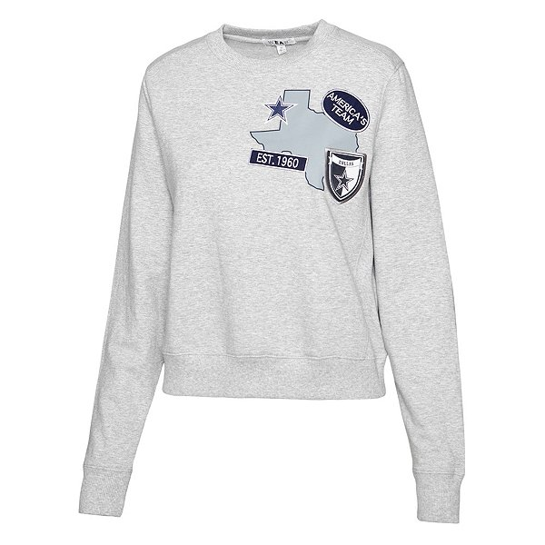 Dallas Cowboys WEAR By Erin Andrews Womens Patches Crew Fleece Sweatshirt