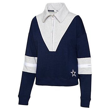 Dallas Cowboys WEAR By Erin Andrews Womens Chevron Colorblock Quarter-Zip Pullover
