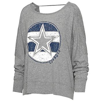 Dallas Cowboys Team LJ Womens Star Logo Cross Open Back Top