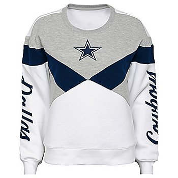 Dallas Cowboys Juniors Check Down Cut Out Fleece Sweatshirt