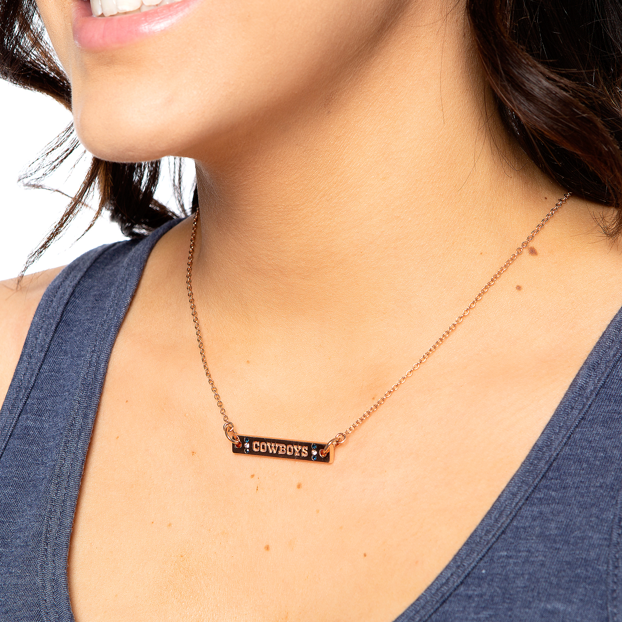 Dallas Cowboys Rose Gold-Tone Adjustable Bar Necklace