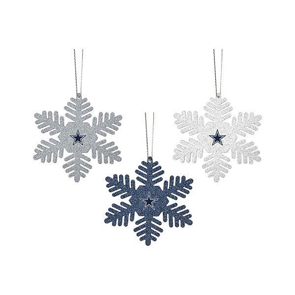 Dallas Cowboys Glitter Metal Snowflakes Set of 3