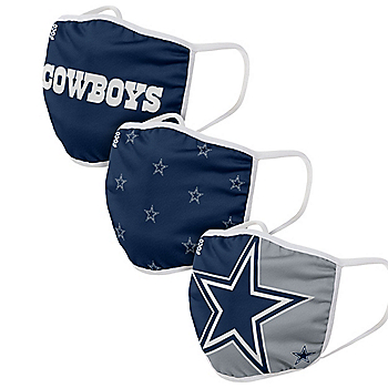Dallas Cowboys Printed Face Masks Set of 3