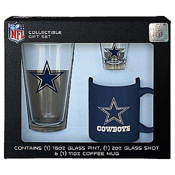 Dallas Cowboys 3 Piece Boxed Glassware Gift Set