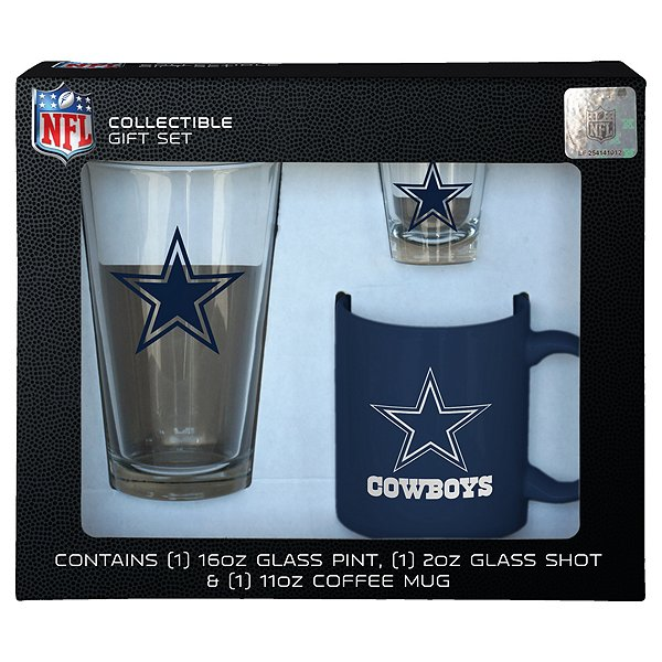 Dallas Cowboys 3 Piece Boxed Glassware Gift Set