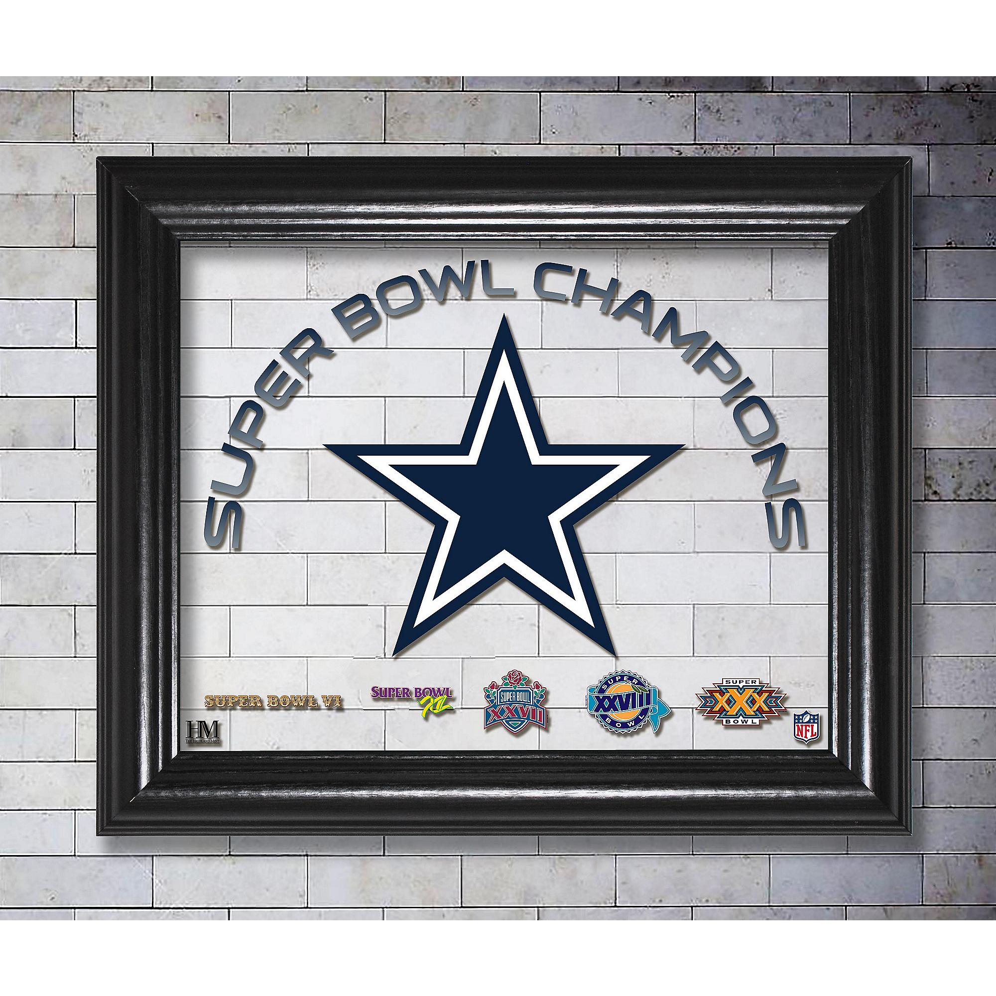 Dallas Cowboys 13x16 Super Bowl Champions Printed Glass Frame