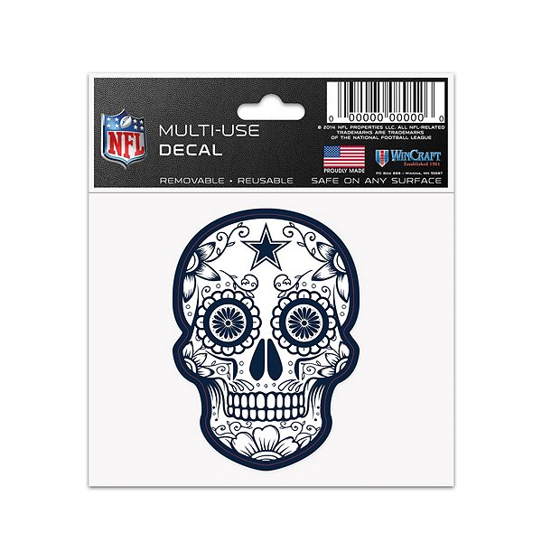 Dallas Cowboys 3x4 Sugar Skull Decal