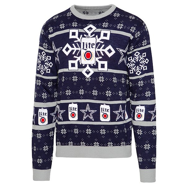 Dallas Cowboys Mens Miller Lite Knit Ugly Sweater