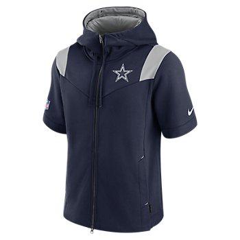 Dallas Cowboys Nike Mens Sideline Full Zip Short Sleeve Hoodie