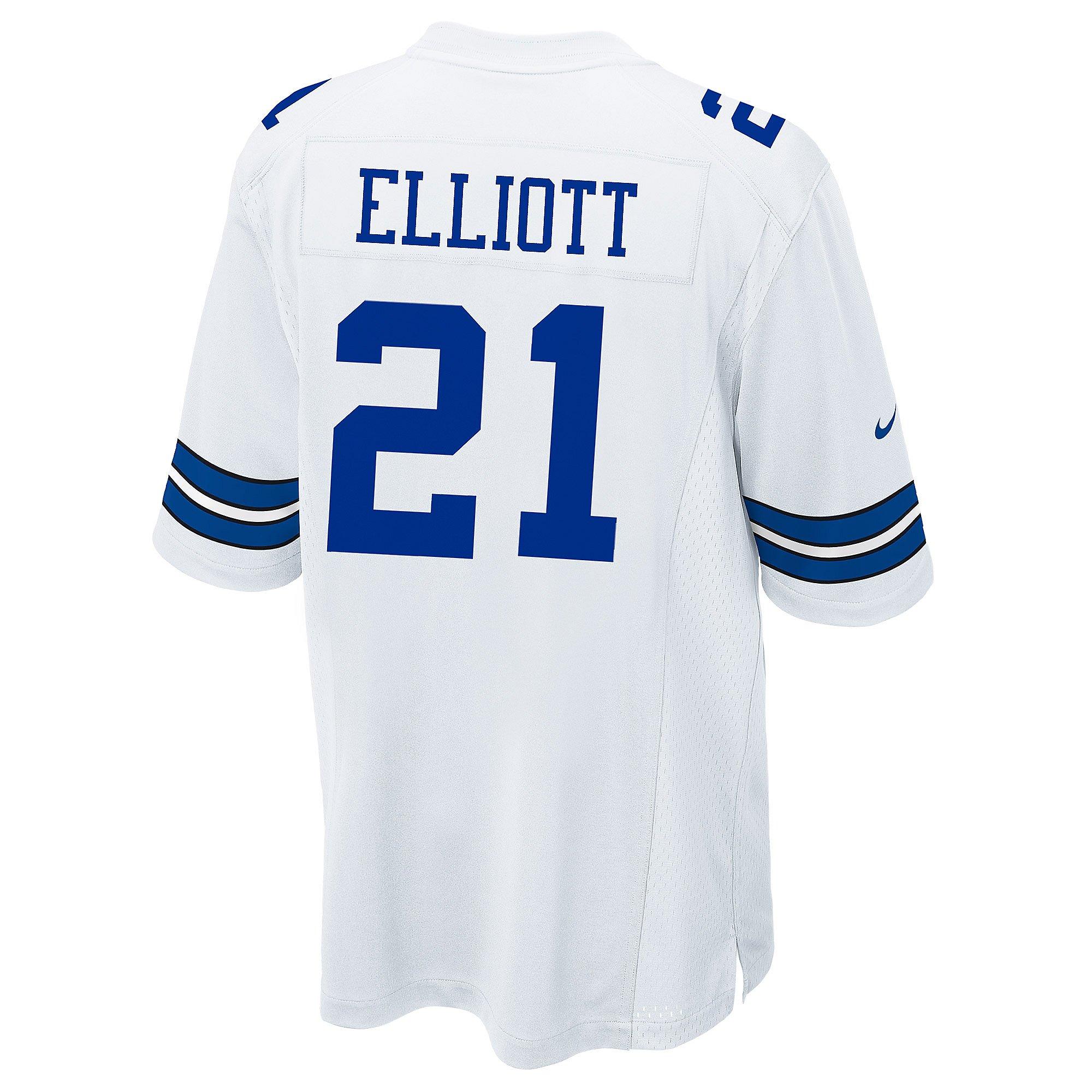 Dallas Cowboys Ezekiel Elliott #21 Nike White Game Replica Jersey ...