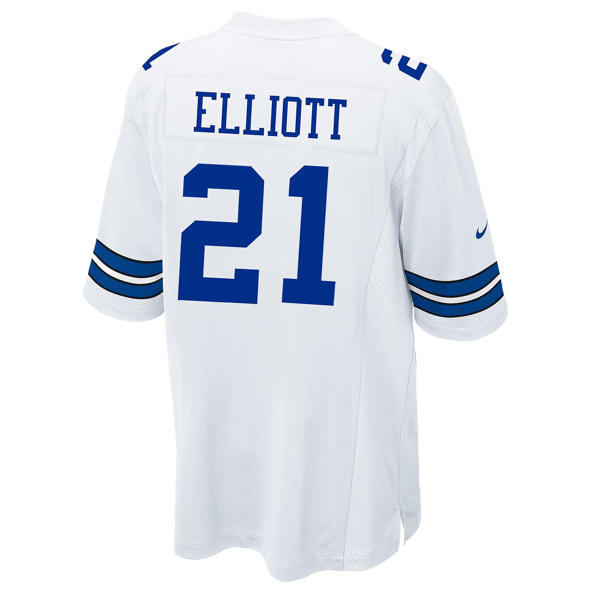 Dallas Cowboys Ezekiel Elliott #21 Nike White Game Replica Jersey