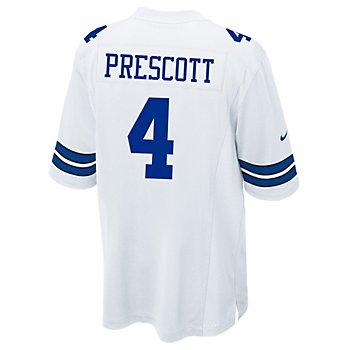 Dallas Cowboys Dak Prescott #4 Nike White Game Replica Jersey
