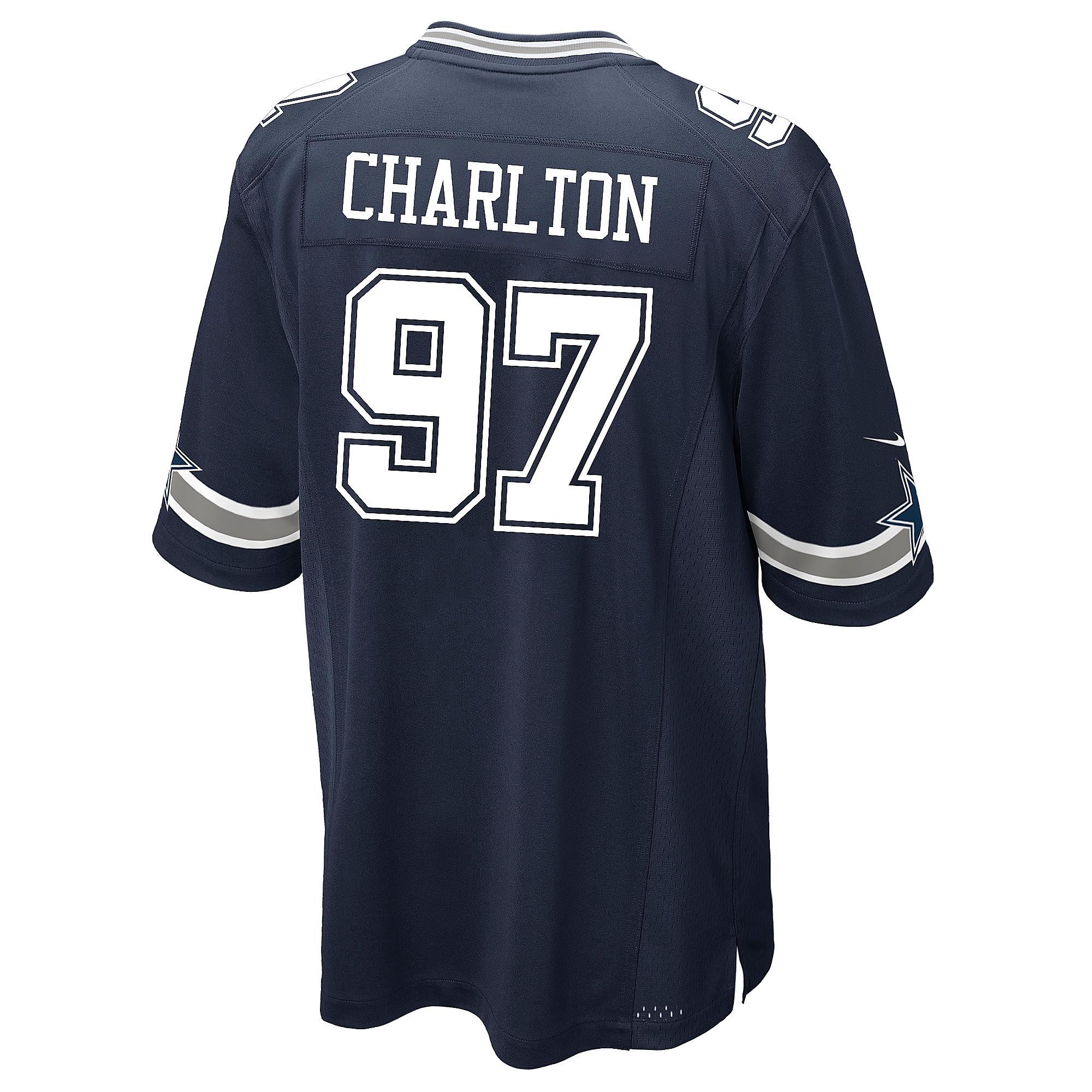 Dallas Cowboys Taco Charlton Nike Navy Game Replica Jersey
