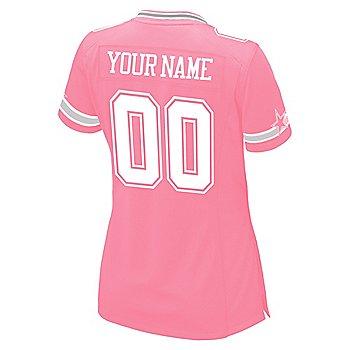 Dallas Cowboys Womens Custom Pink Replica Jersey