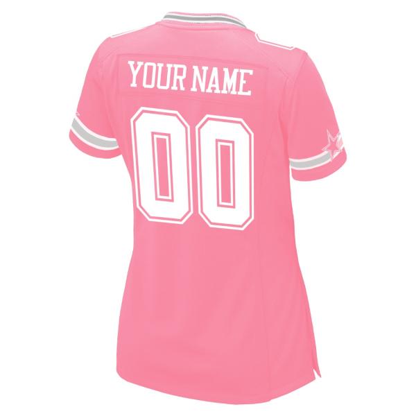 Dallas Cowboys Women's Custom Pink Replica Jersey