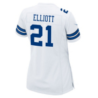 Dallas Cowboys Womens Ezekiel Elliott Nike White Game Replica Jersey