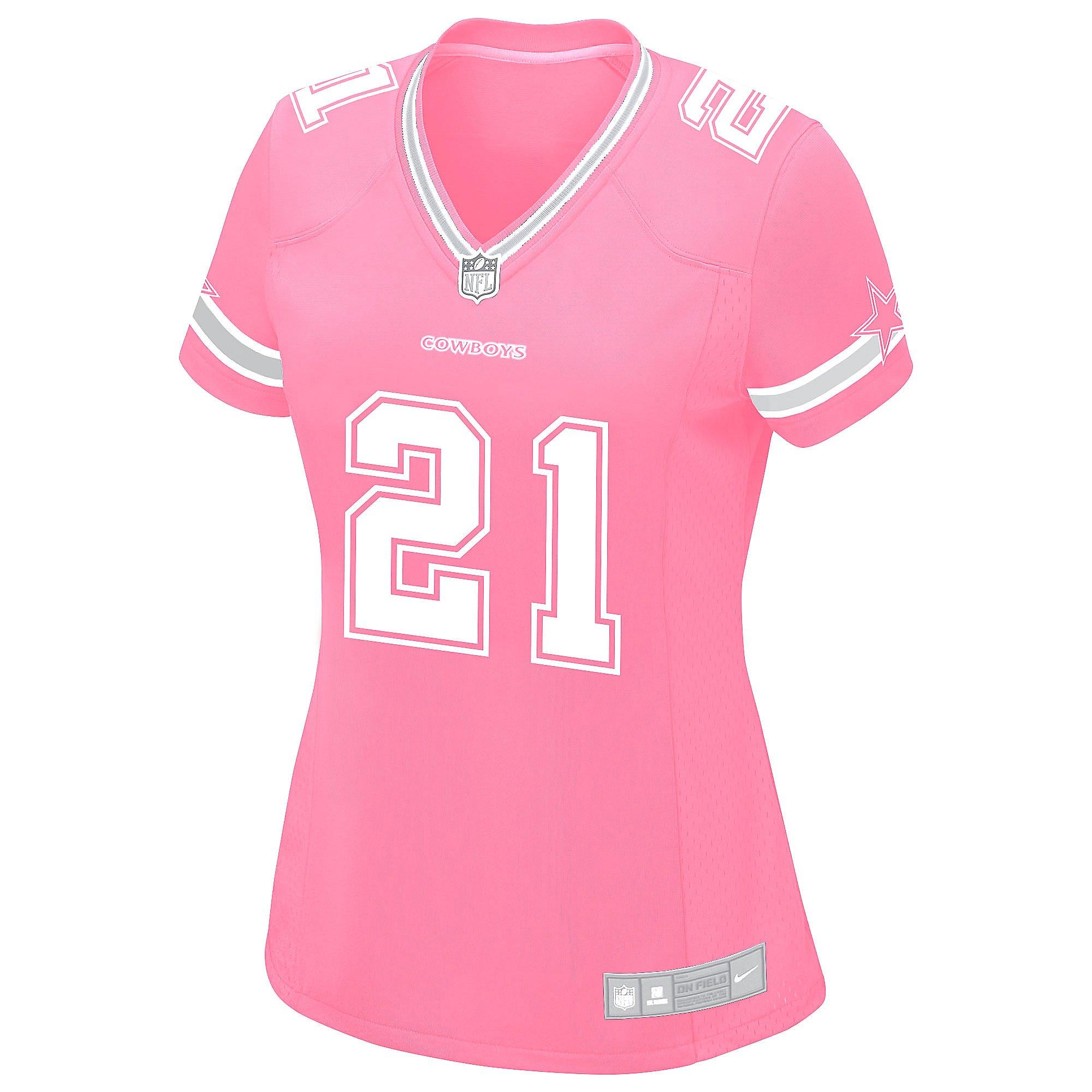 Dallas Cowboys Womens Ezekiel Elliott #21 Pink Jersey | Dallas ...