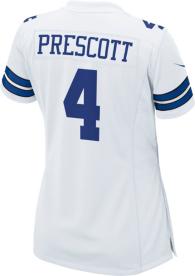 Dallas Cowboys Womens Dak Prescott Nike White Game Replica Jersey
