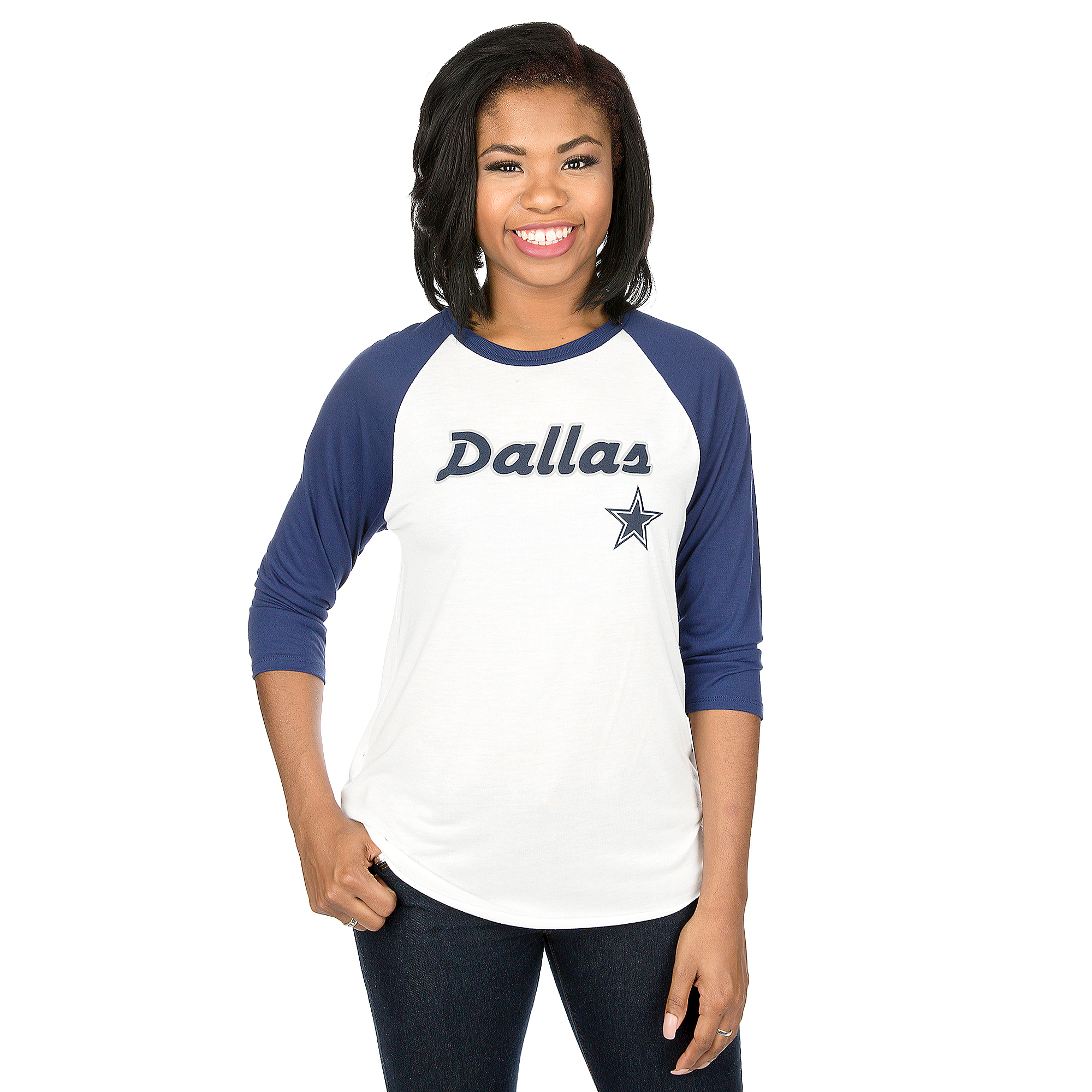 Dallas Cowboys Mitchell & Ness Womens Trade Deadline Raglan Tee