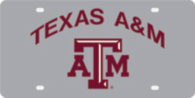 Texas A&M Aggies Silver Mirror Color Arch Over Logo License Plate