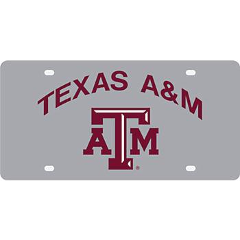 Texas A&M Aggies Silver Mirror Color Arch Over Logo License Plate