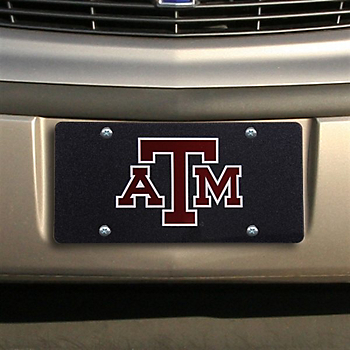 Texas A&M Aggies Black Glitter Logo License Plate