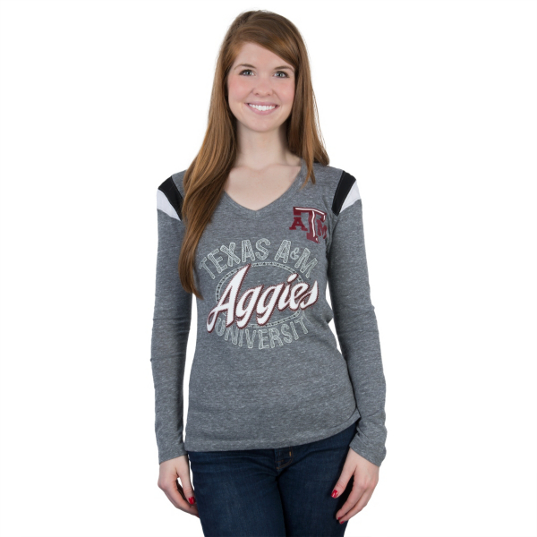 Texas A&M Aggies 5th & Ocean Fitted Long Sleeve V-Neck Tee
