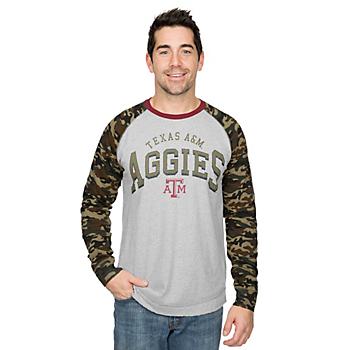 Texas A&M Aggies GIII Punt Return Camo Jersey Raglan Tee